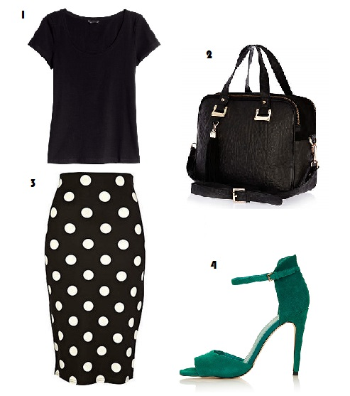 Polkadot, River Island, Fashion, Today I'm Wearing, Outfit, Style, Topshop, H&M, Bowler bag, Pencil skirt, Sandal